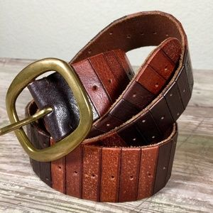 Lucky Brand leather belt distressed multi-brown 40